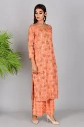 Printed kurti with printed plazzo