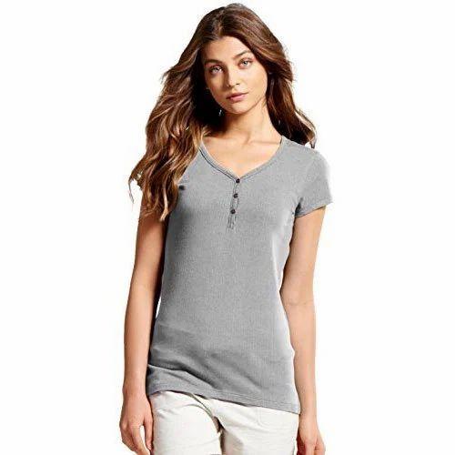 b71d87f017 Ladies Plain Henley T Shirts