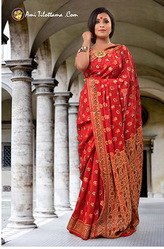 f924011fe7608 Red Silk Chiffon Benarasi Saree