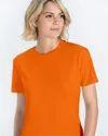 Cotton Half Sleeve Women Orange Plain T-shirt