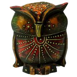 Wooden Emboss Owl With Black Finishing Work