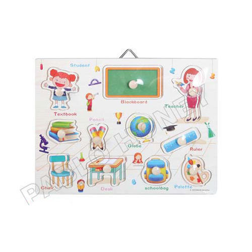 Things In Class Room Wooden Puzzle Tray