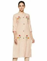 Fancy Cotton Embroidered 3/4th Sleeve Kurti