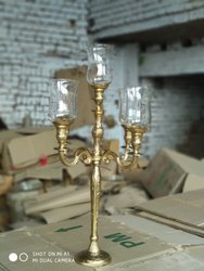 Glass Chimney Gold Candelabra