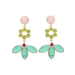 Multi Dangle Indiana Jewelers Represent Nice Model Gemstone Gold Plated Earring