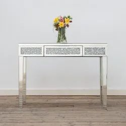 Diamond Crushed Designed Mirror Console Table With Drawer