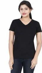 Black Plain Plain V Neck T Shirt