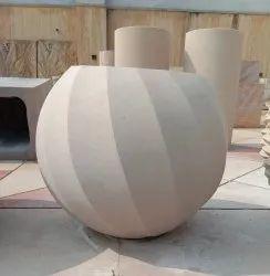 Round Sandstone Planter
