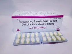 Paracetamol Phenylephrine Hydrochloride & Cetirizine Hydrochloride Tablets