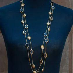 Handmade Linked Bezel Gemstone Women Necklace