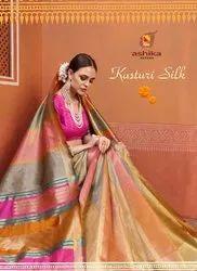 Ashika Saree Kasturi Silk Kanjeevaram Silk Printed Saree