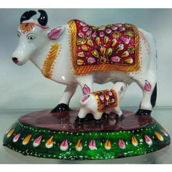 Metal Minakari Cow Statues