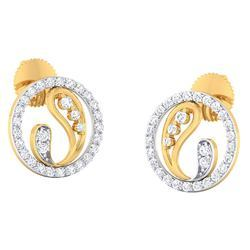 Round Shape Gold Diamond Earrings