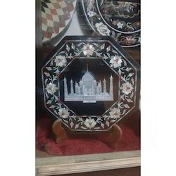Indoor White And Black Marble Plate Tajmahal, For Decoration, Size: 30cm