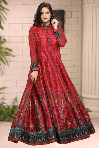 14a7874a7fd Women Oracle Maroon twill silk with digital printed designer evening wear  gown