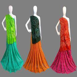 Tapeta Silk Handmade Bandhej Half & Half Saree