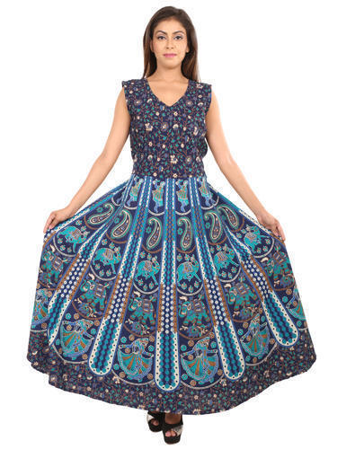 459d3c278ff Rajasthani Cotton Maxi Dress - Cotton Jaipuri Printed Dress ...