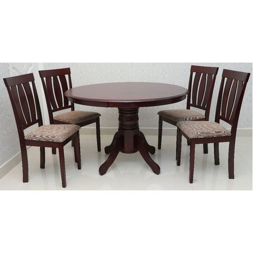 Mahogany Cappuccino Round 4 Seater, Round Dining Set For 4