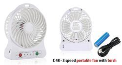 3 Speed Portable Fan With Torch C48