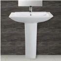 Ceramic Plain White Wash Basin Pedestal, Shape: Rectangular