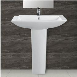 Ceramic Plain White Wash Basin Pedestal, Shape: Rectangular