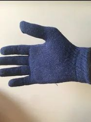 Blue Cotton Knitted Hand Gloves, For Industrial, Size: Medium