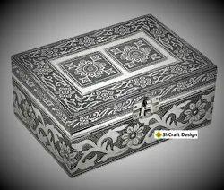 Silver Oxidize Decorative Wooden Jewelry Box