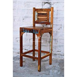 Rustic Wooden Bar Chair