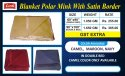 Blanket Polar Single Bed With Border Camel, Navy & Maroon Color