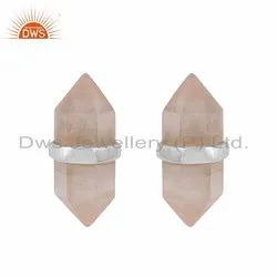 Pencil Design Rose Quartz Gemstone Designer Stud Earrings