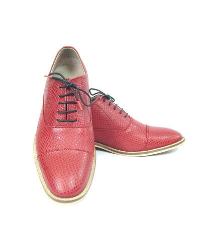 Asm Party Wear High Fashion Red Color Italian Leather Oxford Shoes Size 9 And
