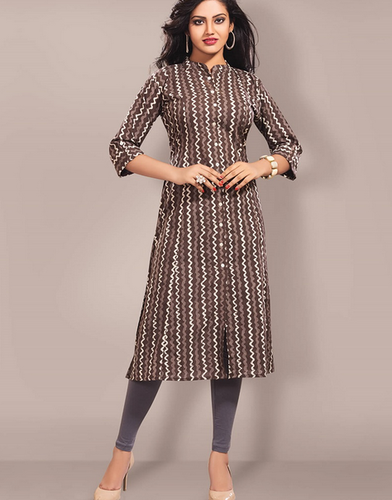 Chanda Chakori Appealing Brown Casual Wear Printed Kurti K001