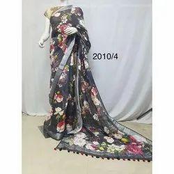Base Black Casual Ladies Floral Print linen Saree, 6.3 m (with blouse piece)