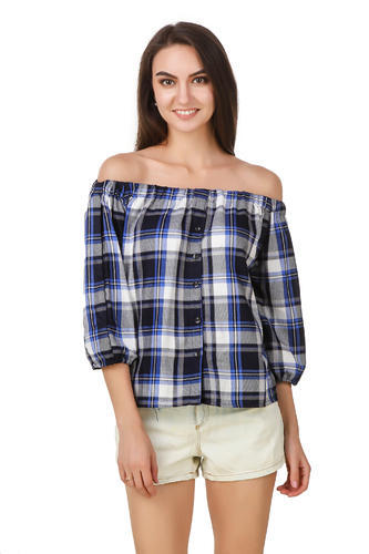 Women 3/4th Sleeve Check Print Cotton Top