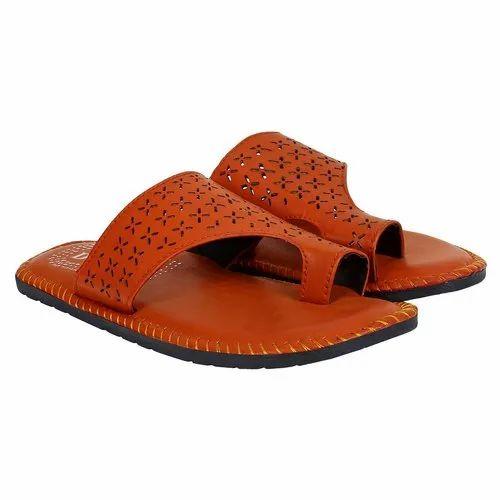 Blanchi Men Mens Tan Leather Slipper, Size: 6-10