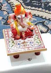Handmade Decorative Marble Sitting Ganesh With Pata