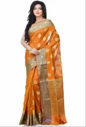 Mustard Cotton Blend Resham Zari Work Banarasi Saree