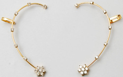 diamond studded gold wire with floral diamond clustter  solid gold earcuff