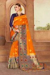 Kanjivaram Raw Silk Saree With Blouse Piece