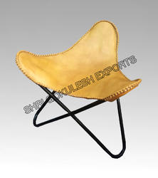 Yellow Leather Butterfly Chairs