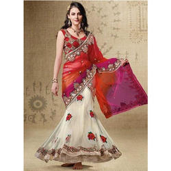 Embroidered Lehenga Sarees with Blouse Piece, Length: 6.3 m