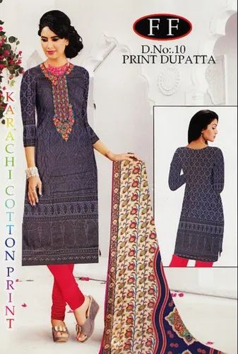65bbed7a17 Blue Printed Embroidery Lawn Cotton Dress Material Chiffon Dupatta With Lace