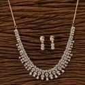 Wedding Cz Rose Gold Plated Classic Necklace Set 401290