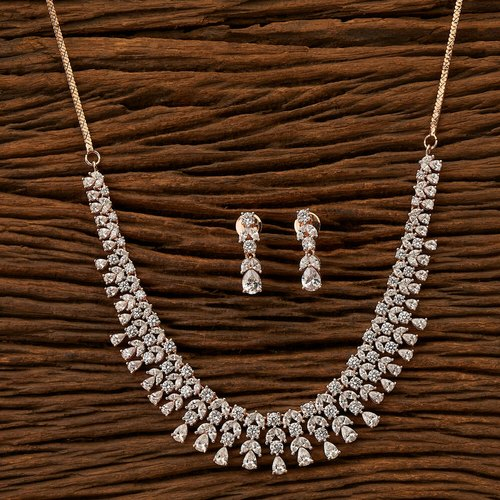 Wedding Cz Rose Gold Plated Classic Necklace Set 401290 Rs 1165