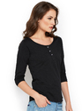 Cotton Ladies 3/4 Sleeve T- Shirt