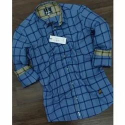 100% Cotton Mill Made Fabric Slim Fit Casual Checks Shirts, Size: M