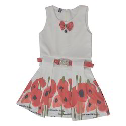 Girls Sleeve Less Printed Frock