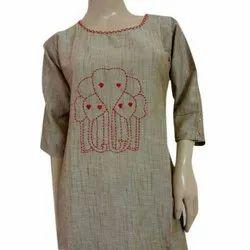 Satin Cotton Ladies Brown Handwork Kurti, Size: S-XL, Machine wash