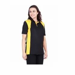 UB-D-Tee-10 Black & Yellow Designer Polo T-Shirt For Female