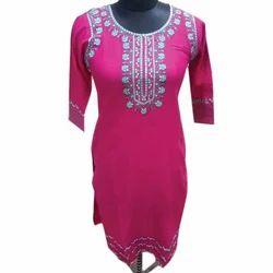 Ladies Pink Rayon Kurti